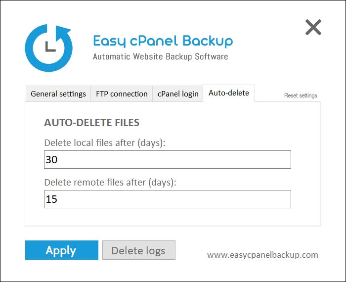 Easy cPanel Backup delete